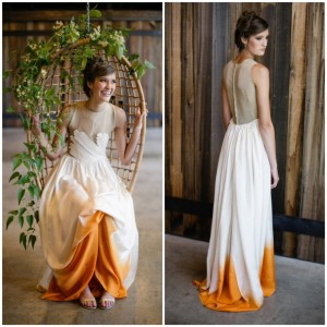 orange-cream-dip-dyed-wedding-dress-swing-basket