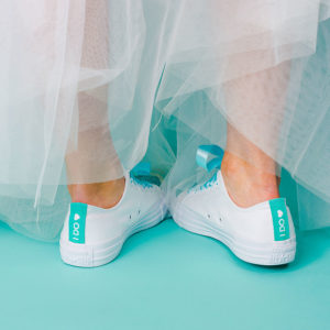 White trainers with bridal veil in tiffany blue, i do love heart on the back