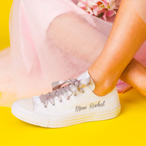 White wedding trainer with pale pink laces, sparkly toe and personal name on the side