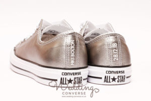 metallic silver trainer personalised with wedding date and name on the back
