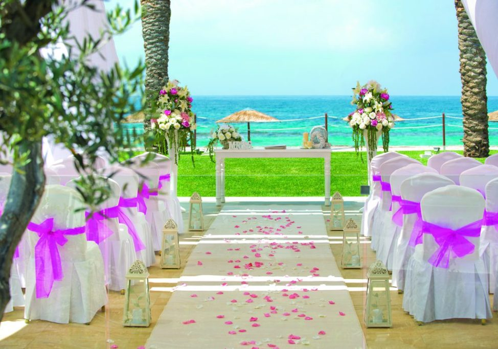 Wedding aisle captains deck overlooking the sea