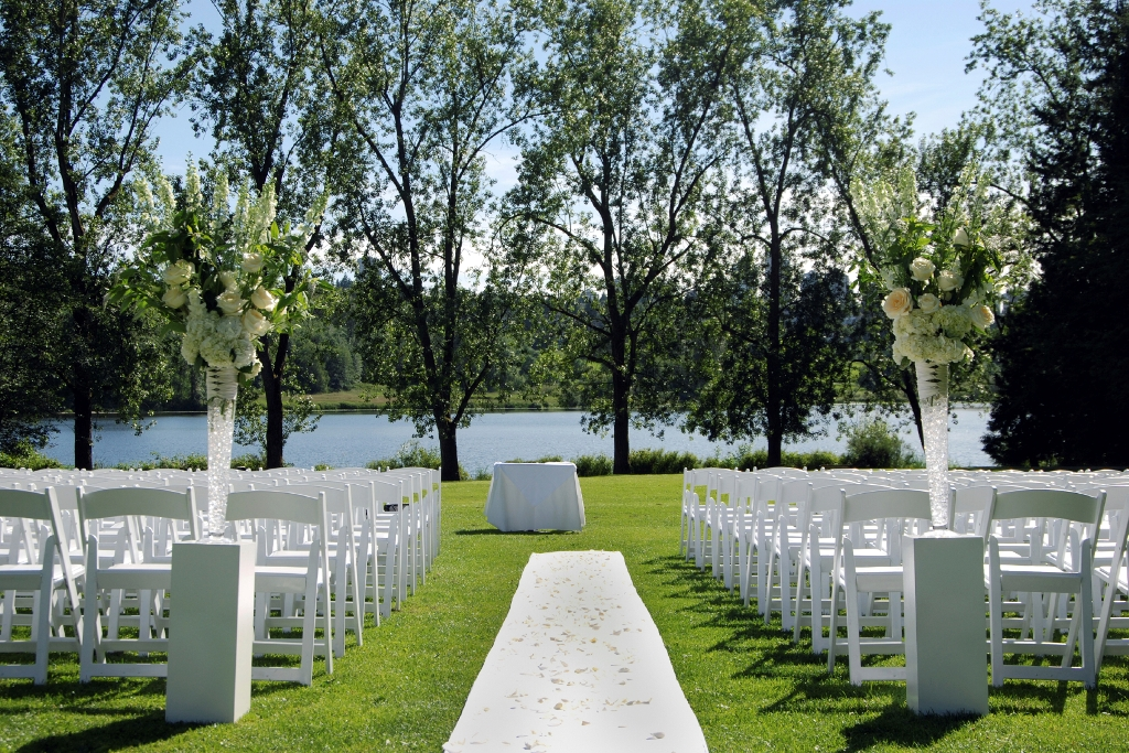 Wedding aisle with lake in the background